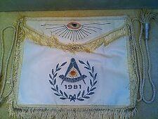 Freemason Masonic 1981 Masters Apron with Presentation, Hand Embroidery