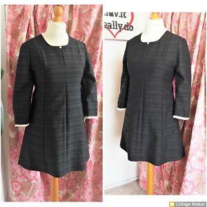 Vintage original 60s Black & Cream Lace trim Mod Scooter Dress Size 10 - 12