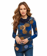 Joe Browns Womens Cowl Neck Top with All Over Print Blue Multicoloured 18