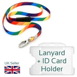 COLOURFUL Rainbow Lanyard Neck Strap + ID Card Holder Events Office Pride LGBTQ