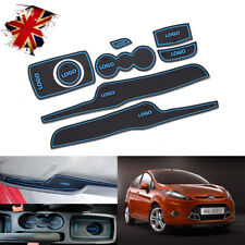 8pcs For Ford Fiesta MK VI 08~14 Gate slot mats Accessories 3D Rubber Mat Blue