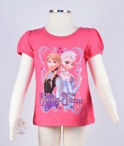 Disney Girls Pink Frozen Elsa and Anna Short Sleeve T Shirt Size 2T NWOT