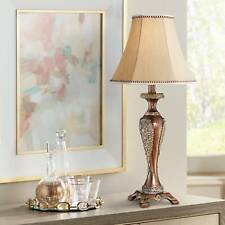 Traditional Table Lamp Dark Bronze Floral Detail for...