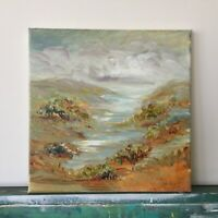 "Small Landscape Original Painting Acrylic on canvas 10""x10""x0.8 Modern Art"
