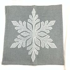Signature Homestyles pillow cover case gray snowflake stitched 18x18 winter zip