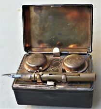 NO RESERVE c1890 Victorian Double Travelling Inkwell Vintage Antique