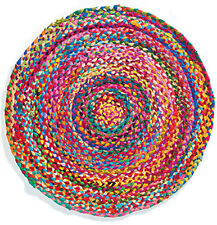 Hand Made Round Chindi Braided Rug Colourful Lounge Bedroom Mat Fair Trade 60 cm