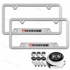 2PCS For DODGE RAM Silver Metal Stainless Steel License Plate Frame W/ Screw Set
