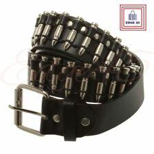 Black Faux Leather Punk Rock Gothic 115cm Unisex Silver Bullet Stud Belt