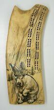 Vintage 1976 Ekemo Studios Signed Alaskan Antler Rabbit Scrimshaw Cribbage Board