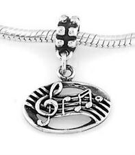 STERLING SILVER MUSIC MEASURE-MUSIC NOTES EUROPEAN STYLE DANGLE BEAD