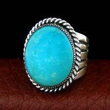 Classic Navajo Men's Sterling Silver Turquoise Ring  Size 11.5 --- R100 J Z