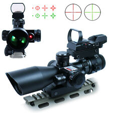 2.5-10X40 Tactical Rifle Scope with Red Laser & Holographic Green-Red Dot Sight