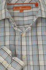 Sette Ponti Men's Beige Blue & Black Check Plaid Cotton Casual Shirt L Large