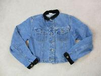 VINTAGE Lee Jean Jacket Girls Small Blue Denim Rancher Coat Youth Kids 90s