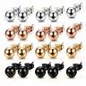 2pcs Women Men Stainless Steel Ball Bead Ear Stud Earrings Silver Gold 3mm-8mm