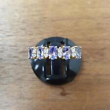 9 carati oro giallo QVC Anello con Diamanti e Pietre Viola 1,9 G