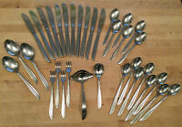 "MidCentury Modern Lot N S Co. ""Flamingo"" Stainless Flatware 34 Pieces Japan"
