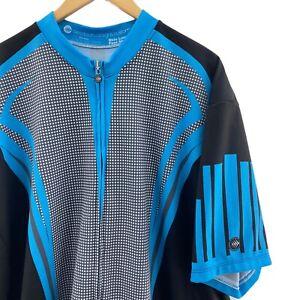 Aero Tech Designs Mens 5XL Blue Black Full Zip Cycling Short Sleeve Jersey Shirt