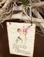 Bild Schild Metall Merry Christmas Engel Shabby Vintage Landhaus Deko 8x11cm