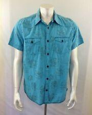 Guess Jeans Men's Size XL Blue Floral Short Sleeve Button Up Hawaiian Shirt