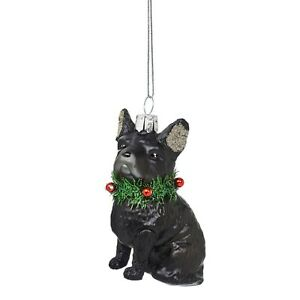 Sass & Belle Festive French bulldog Glass Christmas Decoration Tinsel Brand New