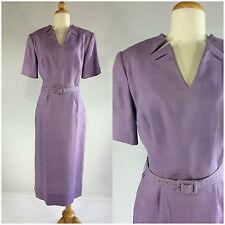 Vintage 50s Teske Purple Dress Short Sleeves Calf Length V-Neck