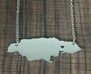 Silver Love Jamaica Heart Map Country Necklace Pendant Chain Rasta Caribbean UK
