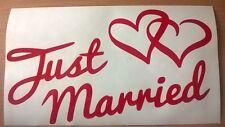 Just MARRIED coeurs Amour Mariage Autocollant Voiture Vinyle Mur Porte Fenêtre Arrière art