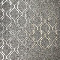 Embossed Natural Mica stone Wallpaper silver metallic gray black Textured rolls
