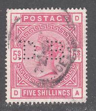 GREAT BRITAIN(UK) STAMP #108 — 5sh VICTORIA -- CARMINE ROSE -- 1884 -- USED