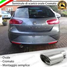 TERMINALE SCARICO CROMATO LUCIDO OVALE ACCAIO INOX SEAT LEON 1P1 SCARICO SINGOLO