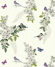 WARTHOUSE MITZU WHITE FLOWERS BIRDS BUTTERFLIES LUXURY DESIGNER WALLPAPER 670401