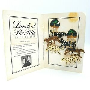 Vintage Lunch at the Ritz Enamel Jungle Cats Charm Dangle Clip-On Earrings