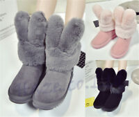Women Ladies Cute Bunny Ear Fur Lining Winter Warm Snow Boots Shoes