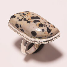 DALMATION JASPER GEMSTONE 925 SILVER JEWELRY RING SIZE 7