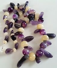 """Chunky GOODLUXE Handmade Amethyst & Moonstone Necklace 27"""" Sterling Silver Clasp"""
