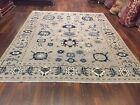 "Genuine Hand Knotted Gray Oushak Heriz Geometric Area Rug Carpet 8'x10'1"",#58"