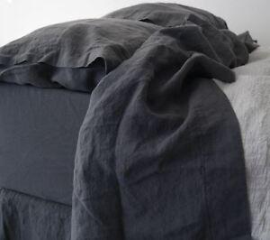 Linen sheet, french linen flat bed sheet , stonewashed made by mooshop top sheet