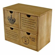 Storage Cabinet Wooden 4 Drawers Organiser Rustic Vintage Style Table Top Decor