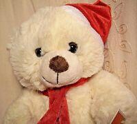 "Holiday Time BIGFOOT TEDDY BEAR Red Snowflake Christmas Plush Toy White 11"""