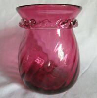 "Hand Blown Vase - Swirl w/ Ribbon Rim Cranberry/Pink Glass 5"" Tall"