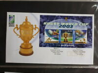 2003 AUSTRALIA RUGBY WORLD CUP 3 STAMP MINI SHEET FDC FIRST DAY COVER