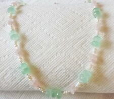 American handmade natural gemstones chalcedony and rose quartz beaded necklace