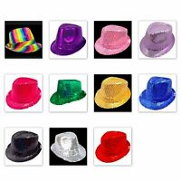 Sequin Hat Cap Fedora Trilby Hat Sequinned Glitter Top Rainbow Party Costume