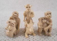 """Three 2"""" to 2 1/2"""" Tall Hard Plastic ? Monkeys w/ Animal Figures Figurines"""