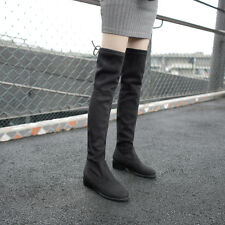 Womens Fashion Faux Suede Low Heel Over Knee Boots Shoes UK Plus Size 1-12