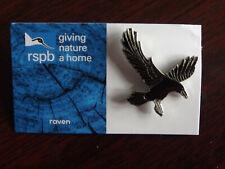 RSPB GNaH raven Metal Pin Badge on Blue FR Card