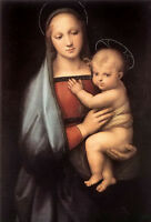 Stunning Oil painting Raphael - Figure Portrait Madonna Virgin with child canvas