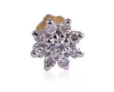 Nose Stud In Solid Certified 18K Gold 0.15 Cts Round Brilliant Cut Pave Diamonds